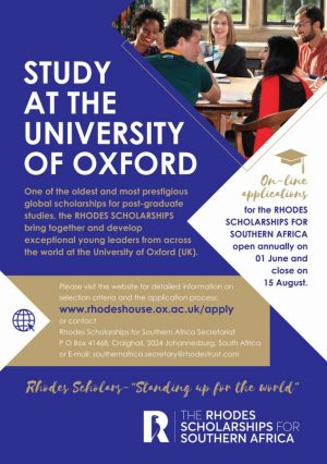 Rhodes West Africa Scholarship 2021 for postgraduate study at the University of Oxford, United Kingdom