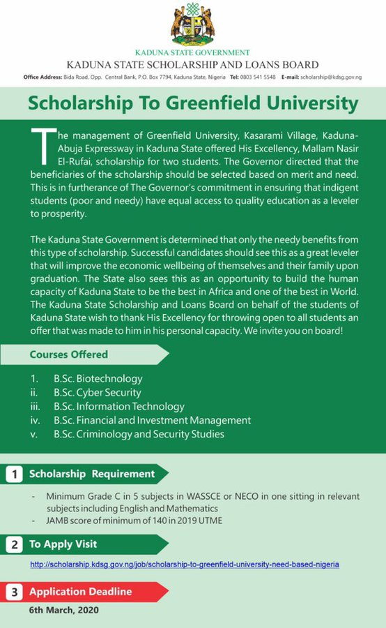 Greenfield University (GFU) Scholarship 2020 for Kaduna State Youths (fully funded)
