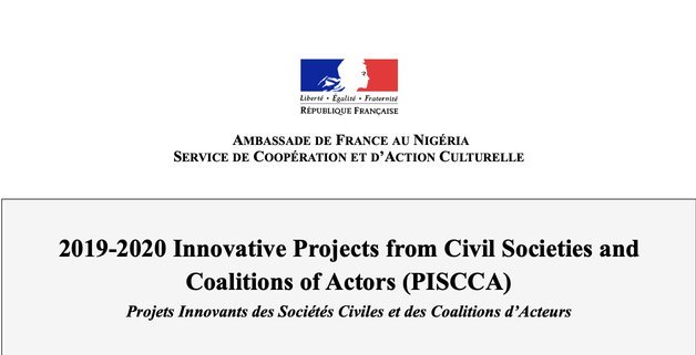 French Embassy Nigeria Call for proposals 2020 - PISCCA Fund for Nigerian Civil Society