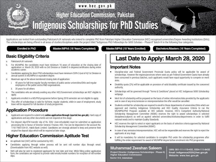 HEC INDIGENOUS PH.D. FELLOWSHIP PROGRAM 2020