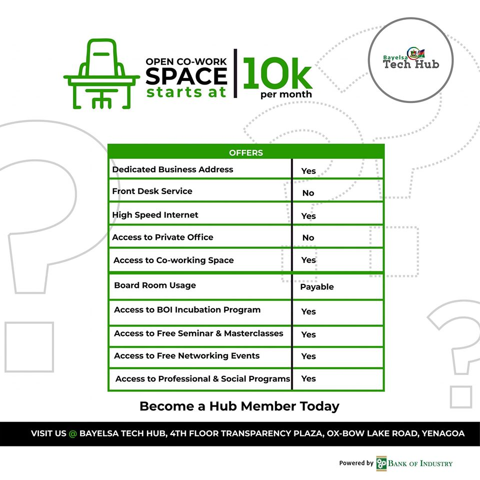 bayelsa tech hub open co-work space fee