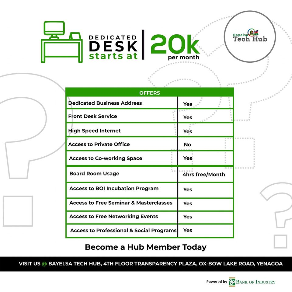 dedicated desk bayelsa tech hub prize