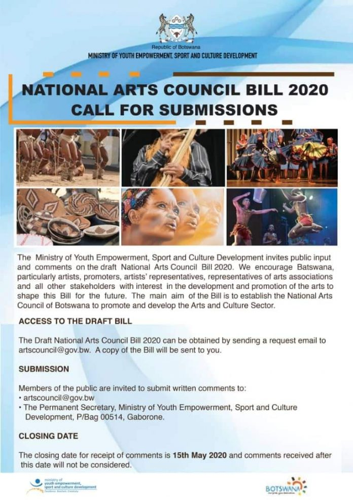 Call for submission - Botswana National Arts Council Bill 2020