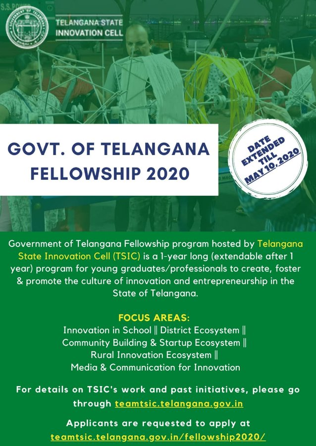 Government of Telangana Fellowship Program 2020 for Young Professionals