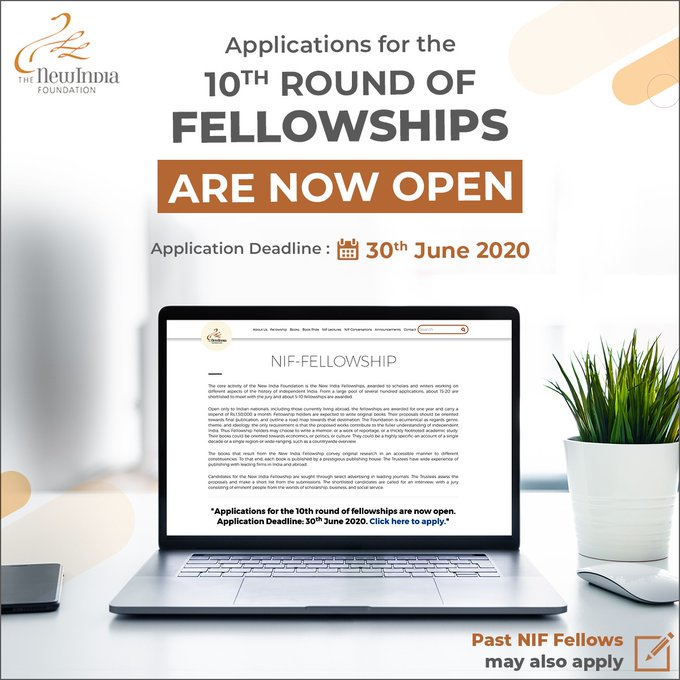 New India Foundation (NIF) 10th Application 2020