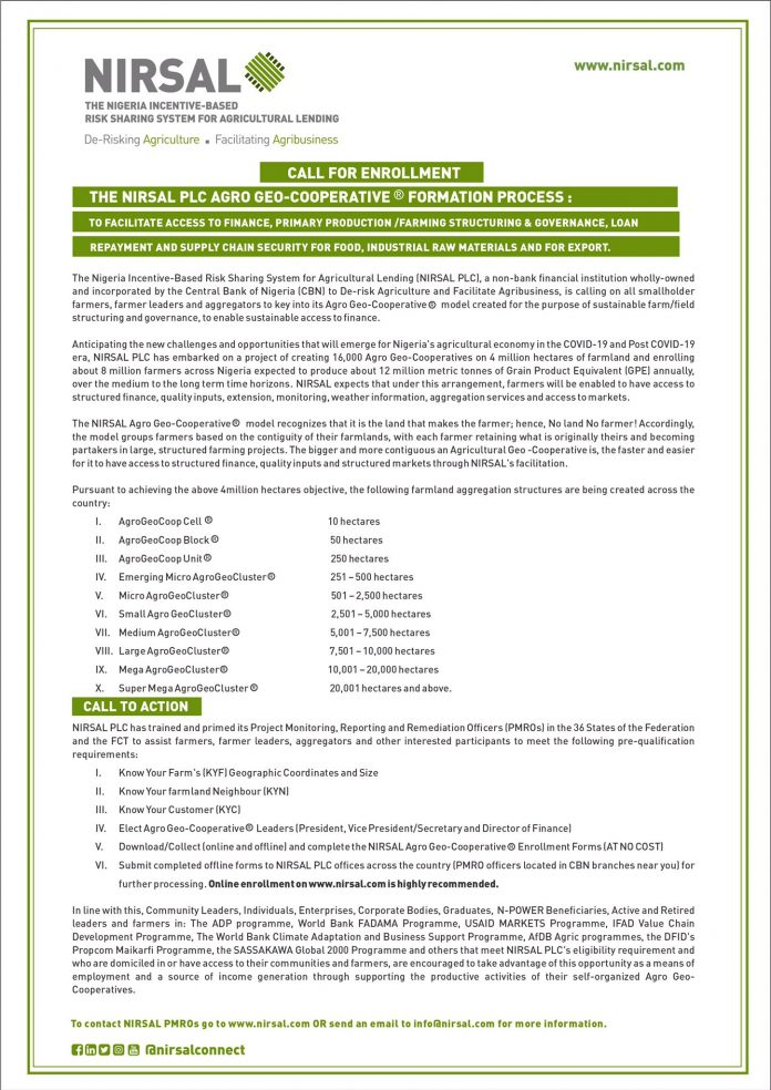 Nirsal Plc Agro-Geo Cooperative Formation Program for Nigerians (Funding available)