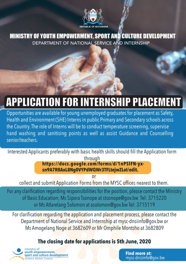 Internship Placement (SHE) Interns for Botswana Youths 2020