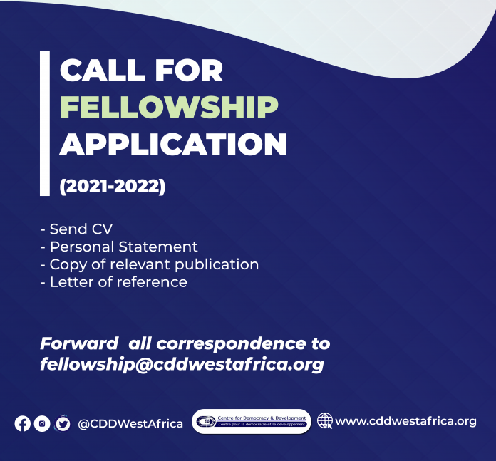 Centre for Democracy and Development (CDD) 2020 Fellowship for Africans