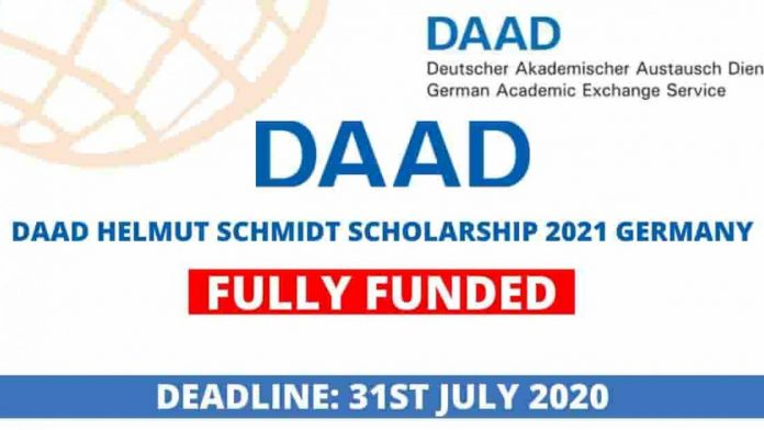 DAAD Helmut-Schmidt-Programme 2021 (Master's Scholarships for Public Policy and Good Governance - PPGG)