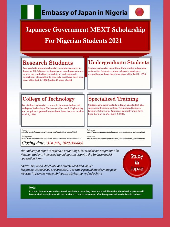 Japanese Government (MEXT) Scholarship 2021 for young Nigerian Teacher Training Students
