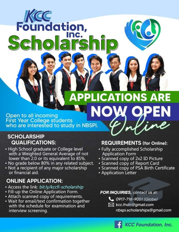 Kcc Foundation Scholarship 2020/2021 for Philippine Students at New Brighton School of the Philippines  (NBSPI)