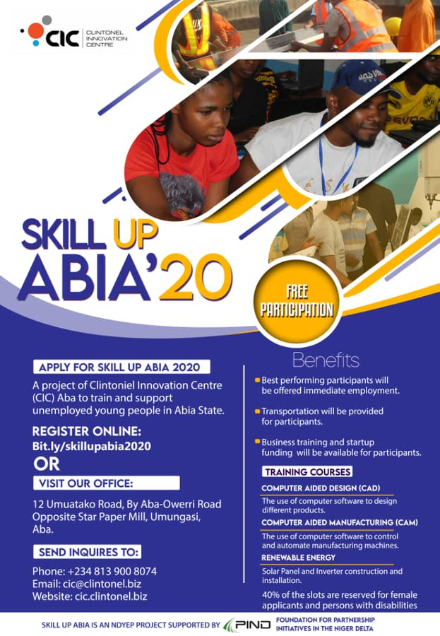 Skill Up Abia 2020 Empowerment Program for Abia state Youths