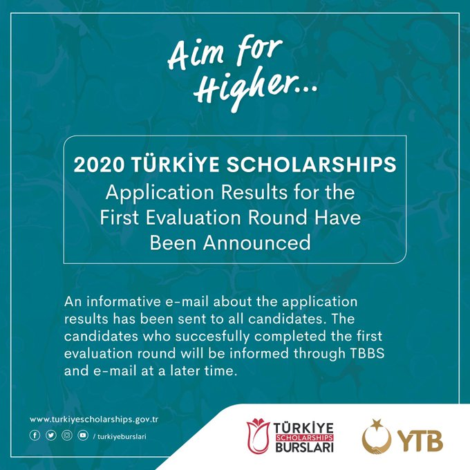 The First Evaluation of Türkiye Scholarships Applications for 2020 Has Been Announced