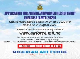 Application for Nigeria Airmen-Airwomen Recruitment 2020- airforce.mil.ng - Naf Forms