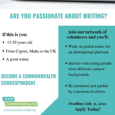 Commonwealth Correspondents Application 2020 for Youth Leaders and Writers