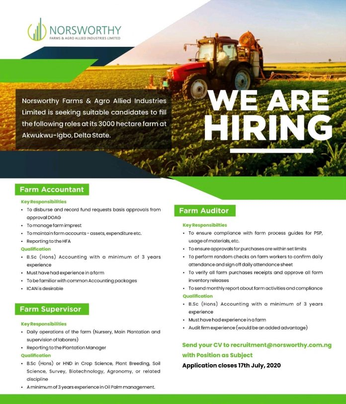 Norsworthy Farms Recruitment for Nigerians 2020