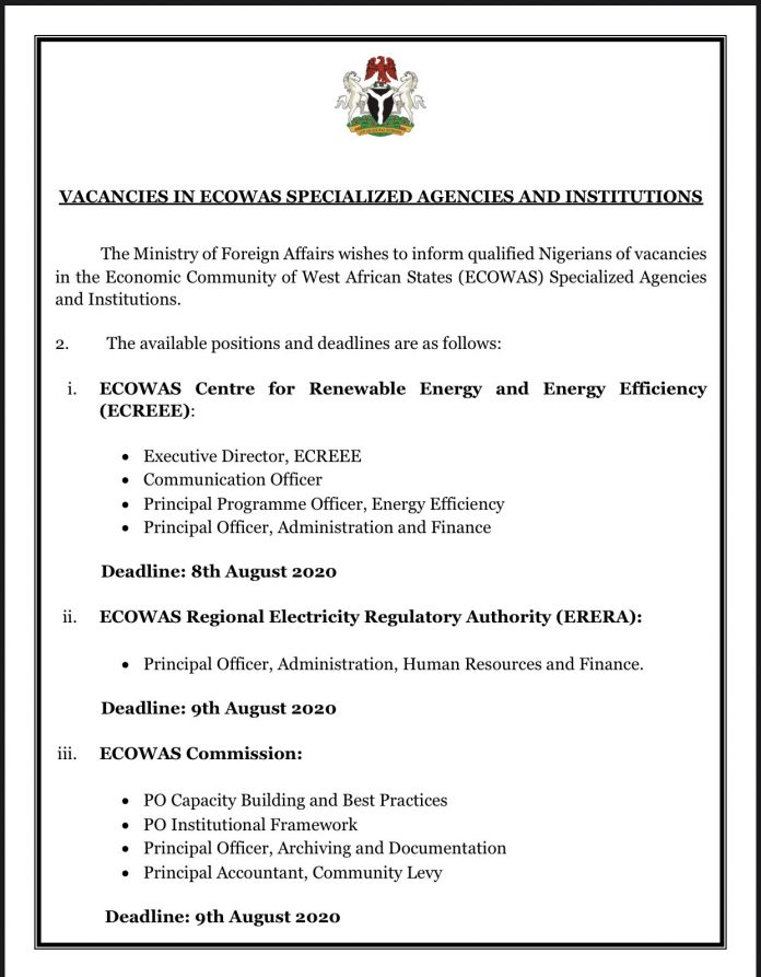 VACANCIES IN ECOWAS SPECIALIZED AGENCIES AND INSTITUTIONS 2020