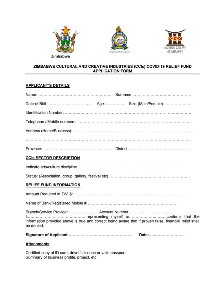 ZIMBABWE MINISTRY OF YOUTH, SPORT, ARTS AND RECREATION FRAMEWORK FOR APPLICATION AND DISBURSEMENT OF THE COVID-19 ATHLETES AND ARTISTS RELIEF FUND