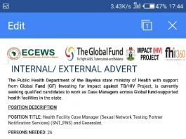 Bayelsa state Ministry of Health Global Fund (GF) Case Manager Recruitment 2020
