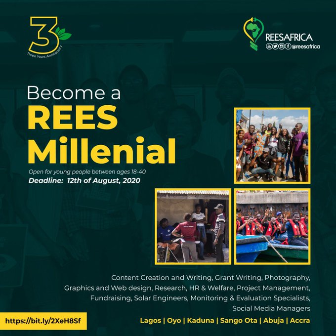Rees Millennial – Volunteering Opportunities 2020 for Nigerians & Ghanaians