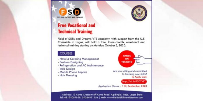 US Consulate-VTE Vocational & Technical Training 2020 for Lagos Youths