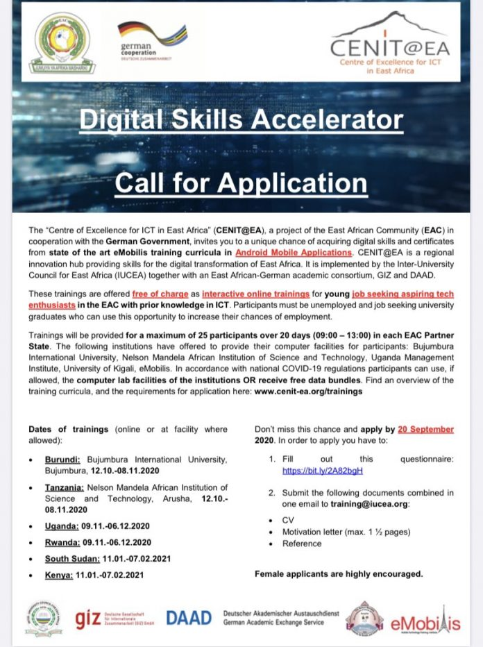 Digital Skills Accelerator Training 2020 on Android Mobile Applications for East African Youths