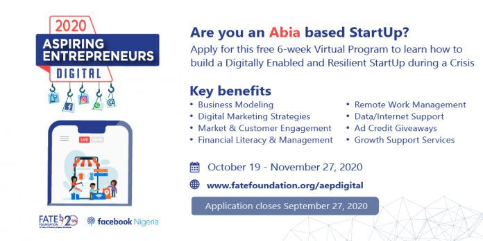 Fate Foundation/Facebook Aspiring Entrepreneurs Digital Programme 2020 for Abia State Entrepreneurs