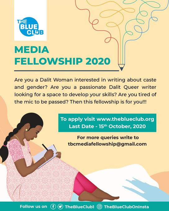 The Blue Club Media Fellowship Program 2020 For Indian Dalit Writers
