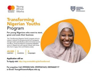 Young Africa Works-Mastercard Foundation Transforming Nigerian Youths Pogram 2020