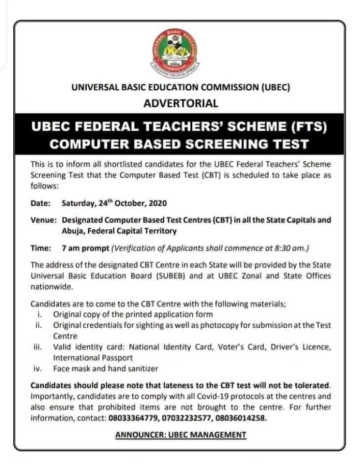 FEDERAL TEACHERS SCHEME (FTS) UBEC 2020 COMPUTER BASE SCREENING TEST