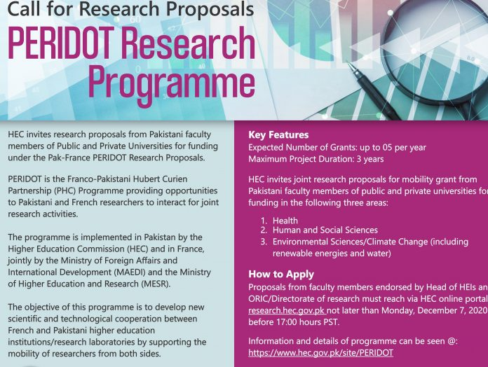 HEC Peridot Research Scholarship Programme 2020-2021 for Pakistani and French Researchers.jpg