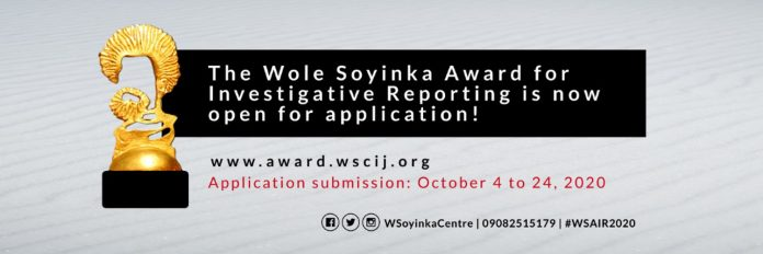 Wole Soyinka Award 2020 for Investigative Reporting for Nigerian Journalists