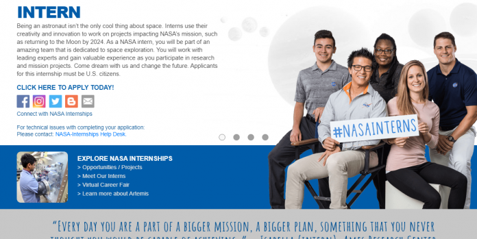 NASA Internship Program 2020-2021 for US Citizens