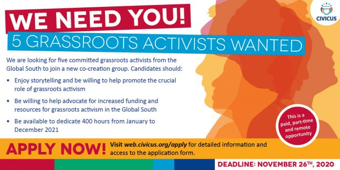 Call for Application: Co-creation team of grassroots activists