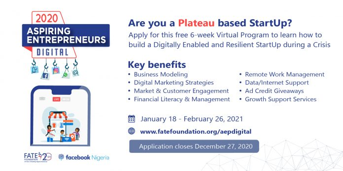 Fate Foundation/Facebook Aspiring Entrepreneurs Digital Programme 2020 for Plateau State Entrepreneurs