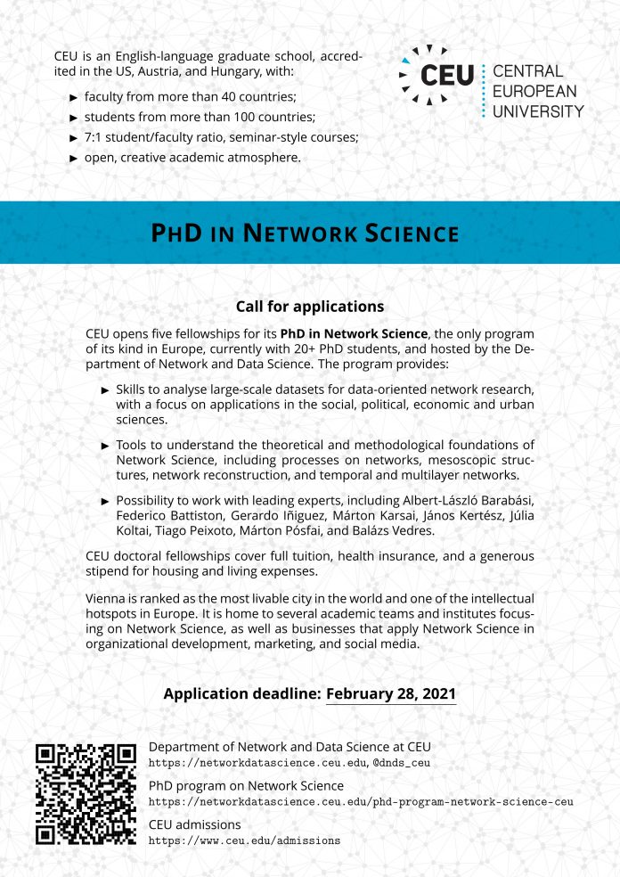 PhD in Network Science Fellowship Programme 2021 at the Central European University