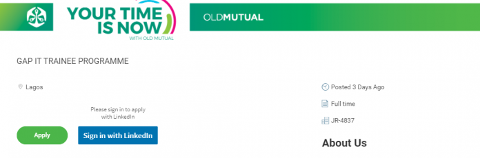 OLD MUTUAL GAP IT TRAINEE PROGRAMME 2020