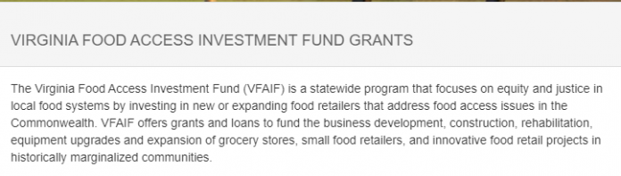 VIRGINIA FOOD ACCESS INVESTMENT FUND GRANTS