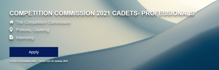 COMPETITION COMMISSION 2021 CADETS- PROFESSIONALS FOR SOUTH AFRICANS