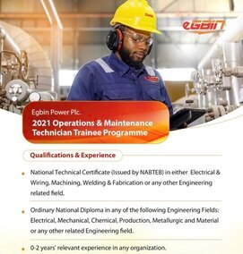 Egbin Power Plc 2021 Operations & Maintenance Technician Trainee Programme