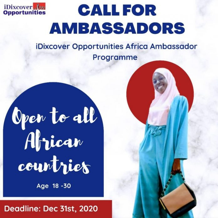 iDixcover Opportunities 2021 Africa Ambassadors Programme for Africans